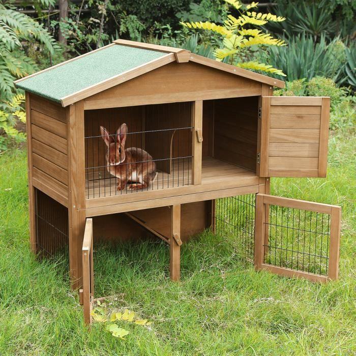 songmics xxl bois clapier lapins cage lapin cabane cage plateau coulissant deux tages prh020. Black Bedroom Furniture Sets. Home Design Ideas