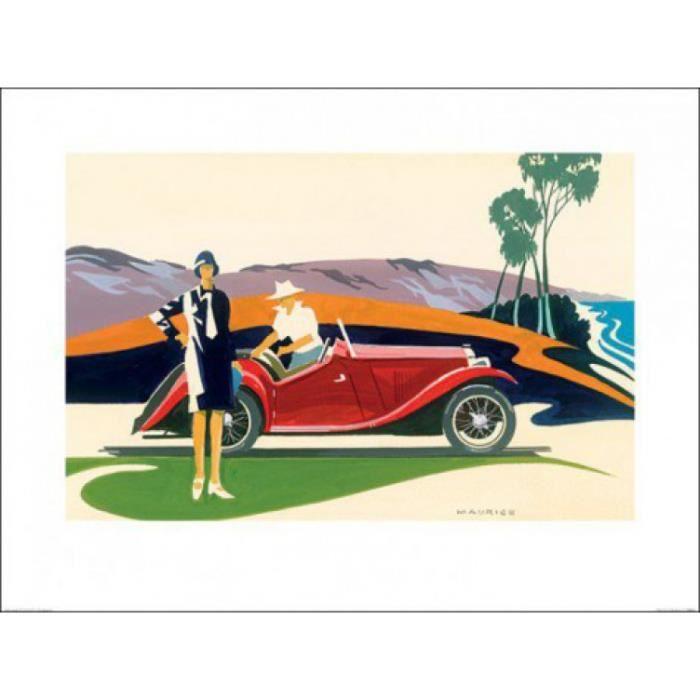 voitures de collection poster reproduction clifftop pique nique mike maurice 60 x 80 cm. Black Bedroom Furniture Sets. Home Design Ideas