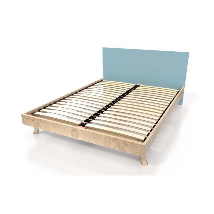 lit viking style scandinave bois 2 places bleu pastel 160x200 achat vente structure de. Black Bedroom Furniture Sets. Home Design Ideas