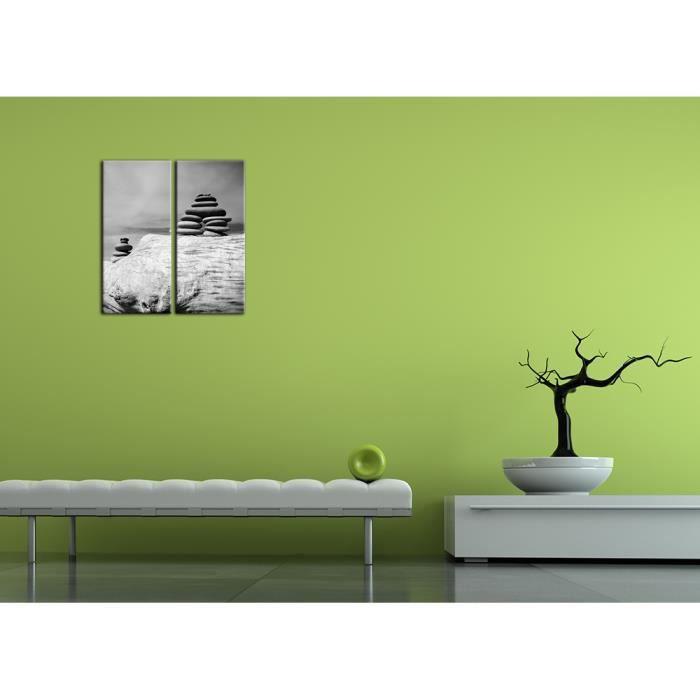 Bilderdepot24 toile sur ch ssis bois zen cailloux noir et for Achat cailloux blanc