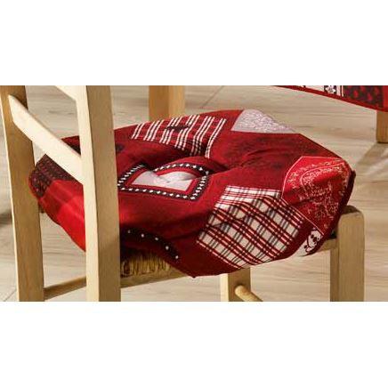 Galette de chaise 4 rabats coeur enneige rouge achat for Galette de chaise 4 rabats