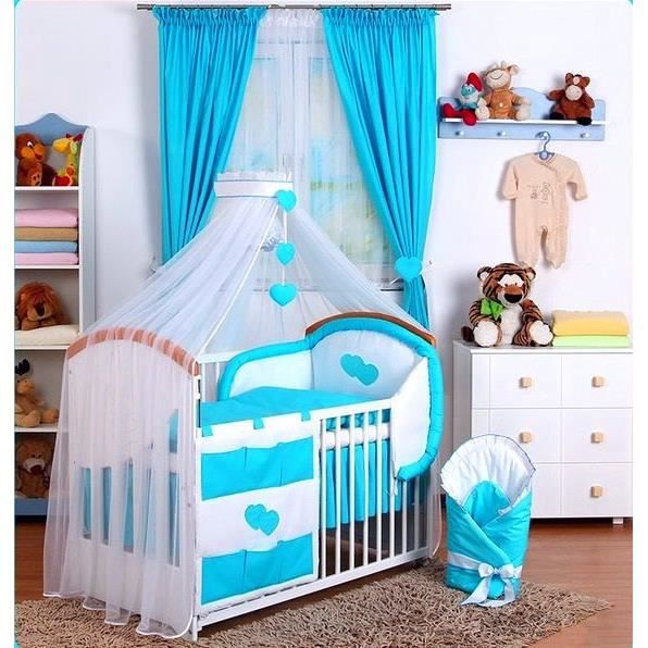 linge de lit b b ensemble 15 pcs gigoteuse ciel bleu turquoise achat vente parure de lit. Black Bedroom Furniture Sets. Home Design Ideas