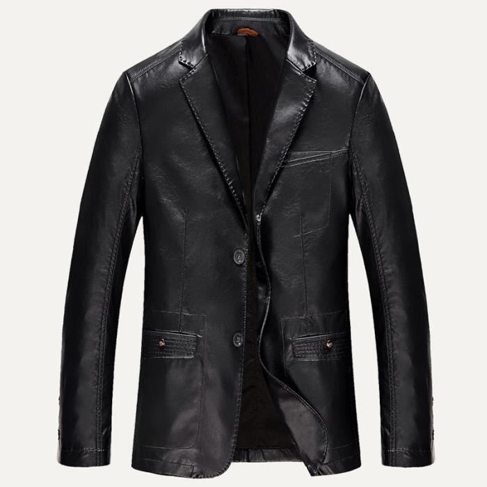 veste cuir homme noir automne hiver slim pu cu noir achat vente blouson cdiscount. Black Bedroom Furniture Sets. Home Design Ideas
