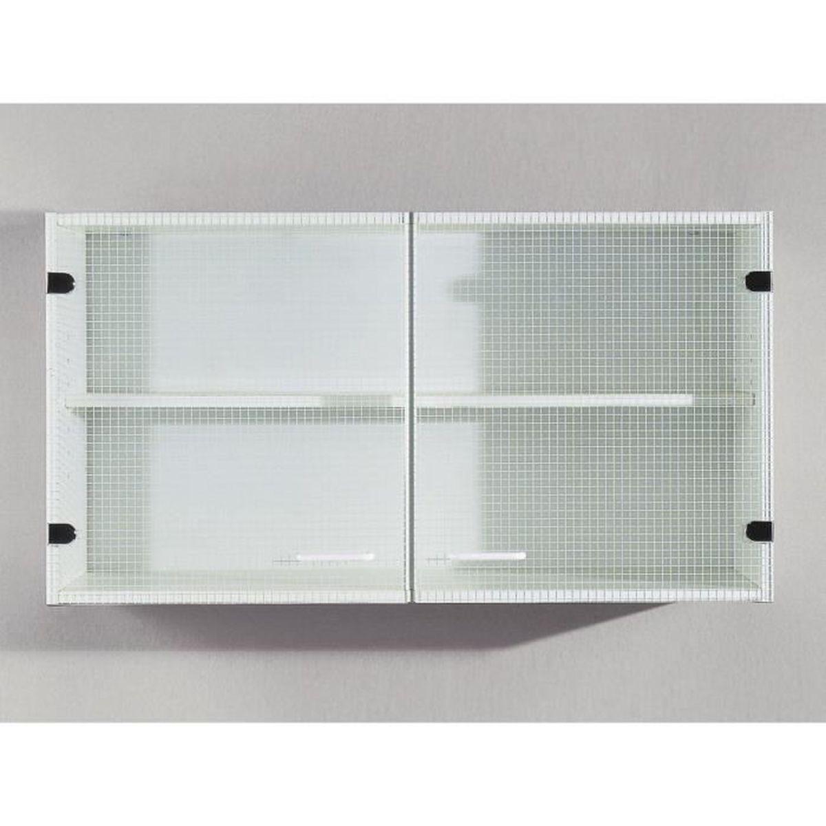 meuble cuisine blanc vitre - achat / vente meuble cuisine blanc ... - Meuble Haut De Cuisine Pas Cher