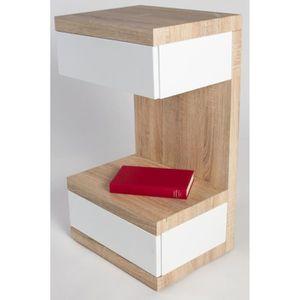 Table de chevet chene blanc achat vente table de - Table de chevet chene clair ...