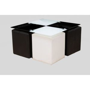 table basse neva 4 poufs noir et blanc achat vente table basse table basse neva 4 poufs. Black Bedroom Furniture Sets. Home Design Ideas