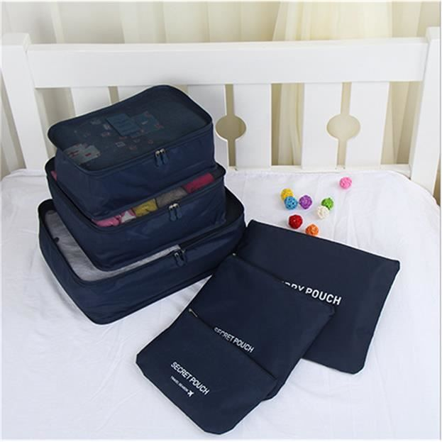 6 sacoches de rangement organisateur de voyage packing cubes d 39 emballage organiseur pour bagages. Black Bedroom Furniture Sets. Home Design Ideas