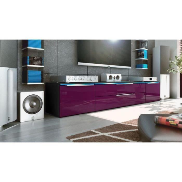 Meuble bas tv noir / mûre 200 cm - Achat / Vente meuble tv ...