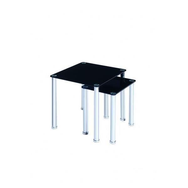 Set de 2 tables gigognes en verre noir milano pour salon - Set de table pour table en verre ...