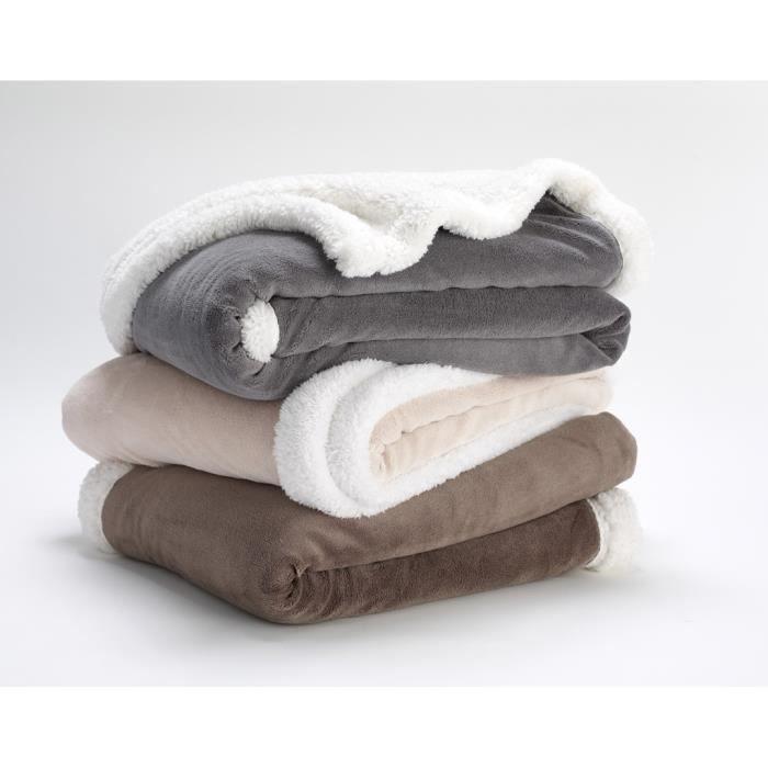 plaid uni gris 150x200 cm 100 polyester 1 face microfibre 1 face sherpa achat vente. Black Bedroom Furniture Sets. Home Design Ideas