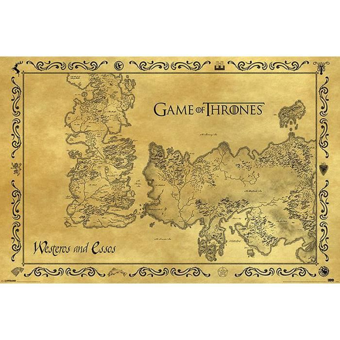 Poster game of thrones carte antique westeros essos for Decoration murale game of thrones