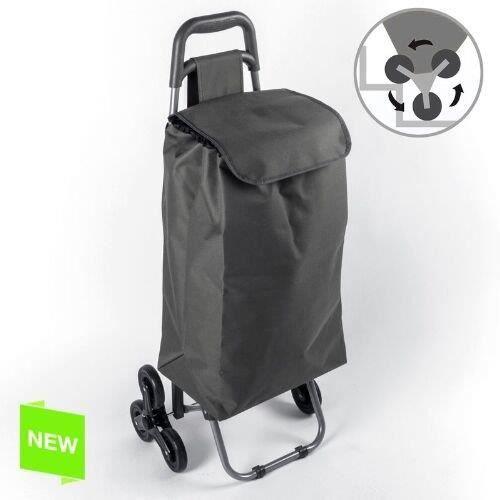 chariot de courses avec 6 roues escaliers 50 noir. Black Bedroom Furniture Sets. Home Design Ideas