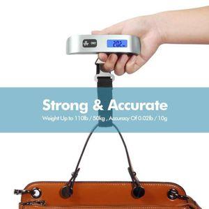 PÈSE-BAGAGE  Pèse Bagage Electronique Max 50 kg LCD Bleu Rétro