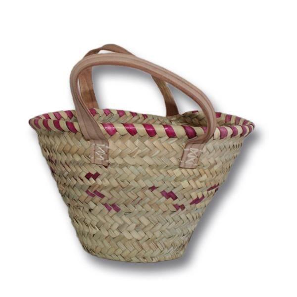 petit panier osier anses en cuir achat vente panier sac de plage 2009803273657 soldes. Black Bedroom Furniture Sets. Home Design Ideas