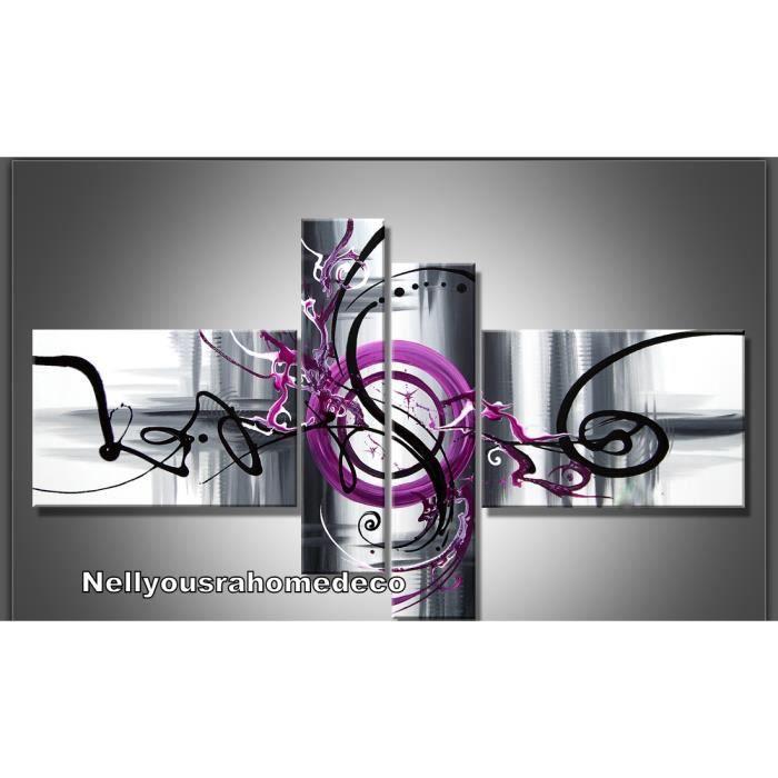 Tableau design purple noir gris violet 140cm achat vente tableau toile toile coton for Deco salon noir blanc violet