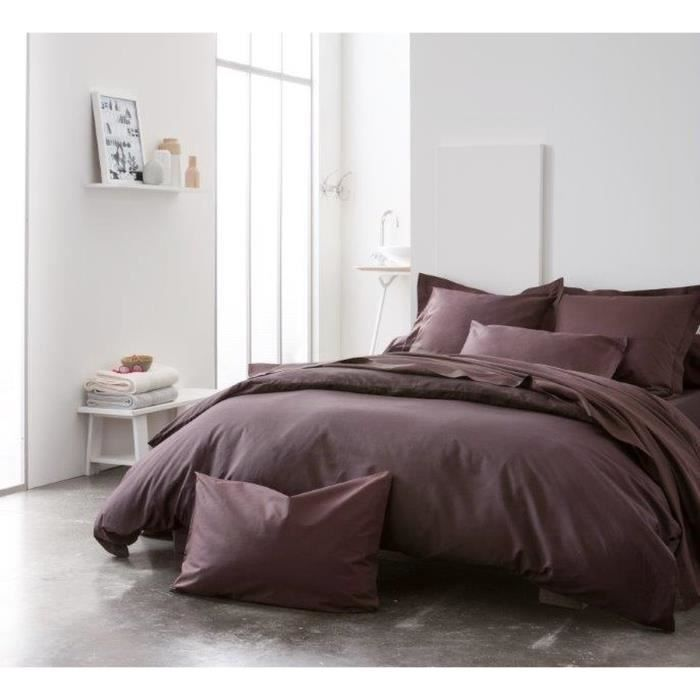 housse de couette 240x260 cm unie chocolat achat vente. Black Bedroom Furniture Sets. Home Design Ideas