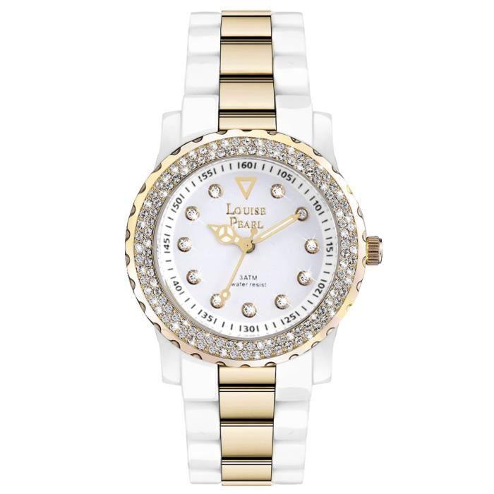 jolie montre femme et 131 cristaux swarovski blanc dor louise pearl 6 achat vente montre. Black Bedroom Furniture Sets. Home Design Ideas