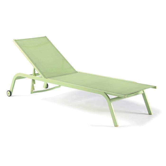 Bain de soleil aluminium et textil ne vert anis perth vert for Chaise longue aluminium et textilene