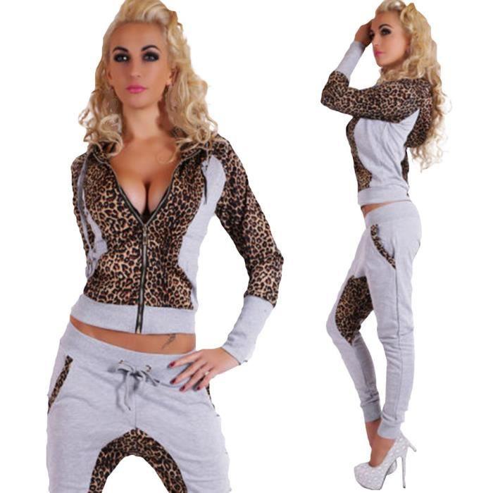 Eozy ensemble tenue v tement de sport femme veste avec pantalon l opard gris pour danse - Jogging a la mode ...