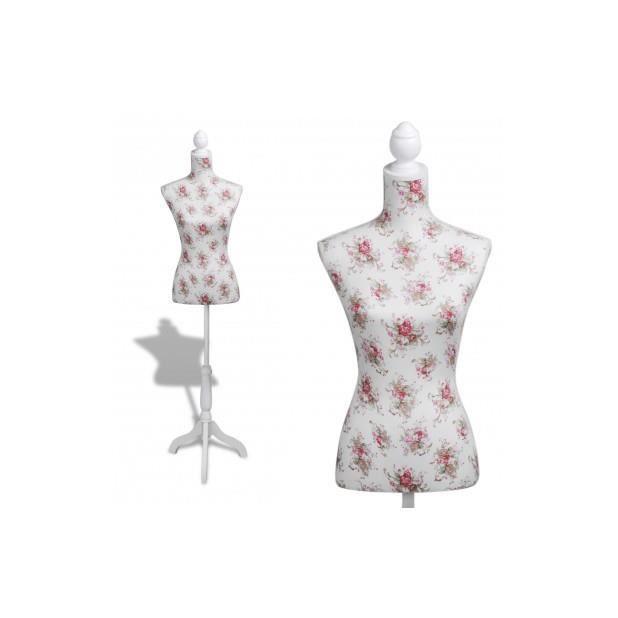 superbe buste de couture de femme en coton blanc motifs rosiers achat vente buste. Black Bedroom Furniture Sets. Home Design Ideas