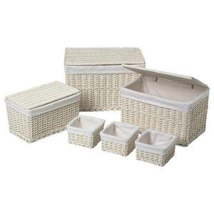 panier de rangement osier blanc achat vente panier de rangement osier blanc pas cher cdiscount. Black Bedroom Furniture Sets. Home Design Ideas