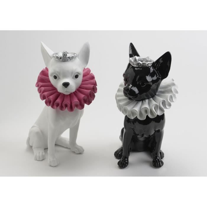 Statuette de chien chihuahua en r sine noire pour for Decoration chien resine