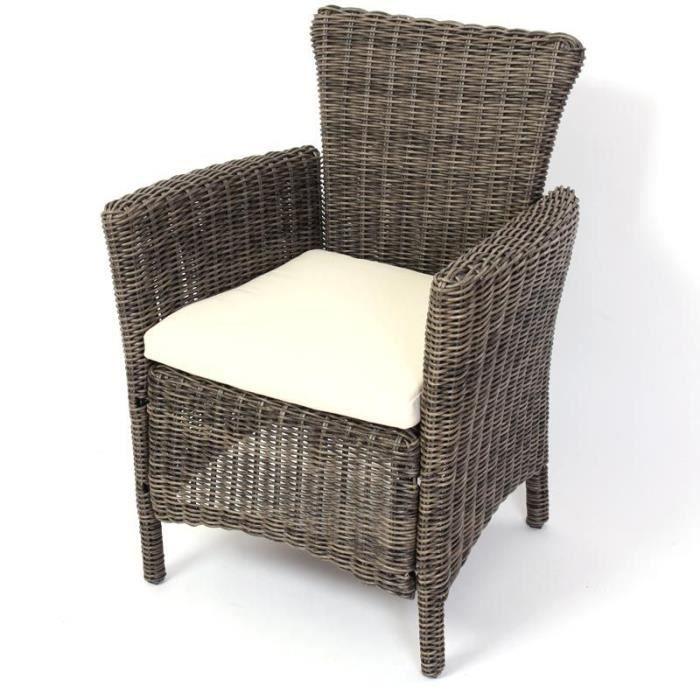 Fauteuil de jardin romv avec coussin poly rotin gris - Coussins de fauteuil de jardin ...