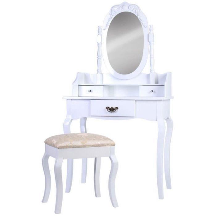 Coiffeuse blanche avec tabouret et miroir inclus tiroirs for Coiffeuse blanche avec miroir