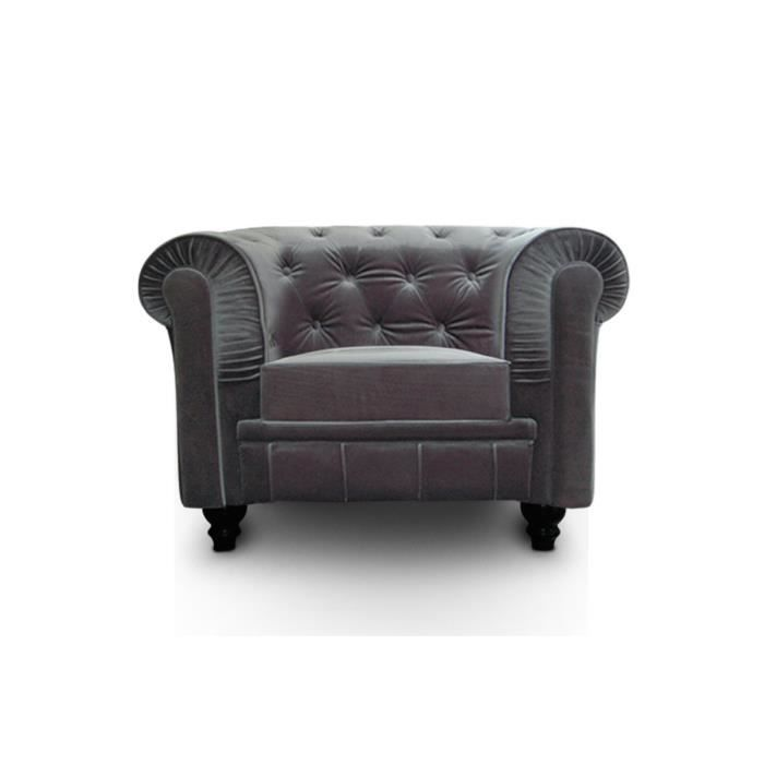 Fauteuil chesterfield velours argent achat vente fauteuil velours bois - Fauteuil chesterfield argent ...