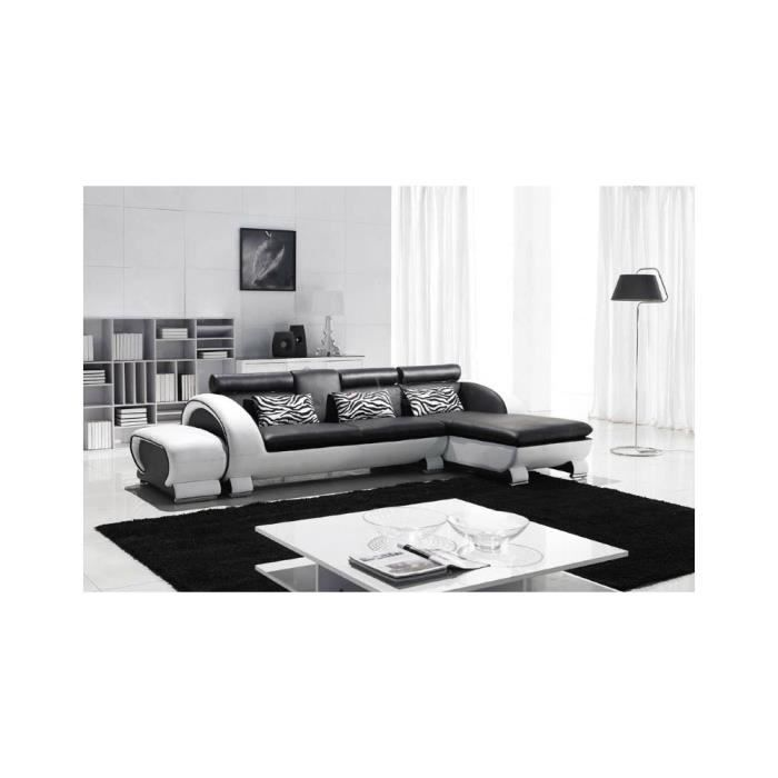 Canap d 39 angle new york assise noire c t blanc achat for Canape d angle large assise
