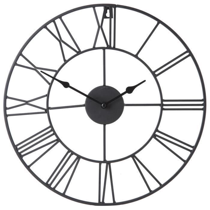 horloge chiffres romains m tal d40cm achat vente horloge cdiscount. Black Bedroom Furniture Sets. Home Design Ideas