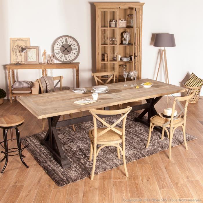 table manger en m tal et pin recycl longueur 240cm cooper achat vente table a manger. Black Bedroom Furniture Sets. Home Design Ideas