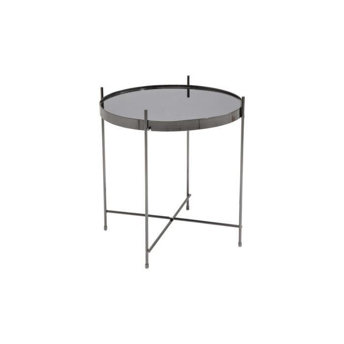 Table d 39 appoint noir en m tal edvina achat vente table - Table d appoint noire ...