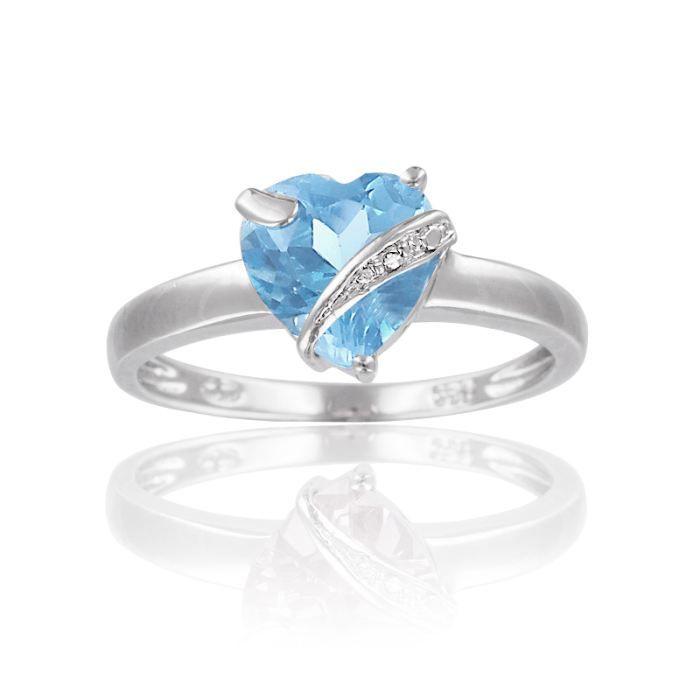 bague argent c ur pierre bleu blanc achat vente bague anneau cleor bague femme adulte. Black Bedroom Furniture Sets. Home Design Ideas