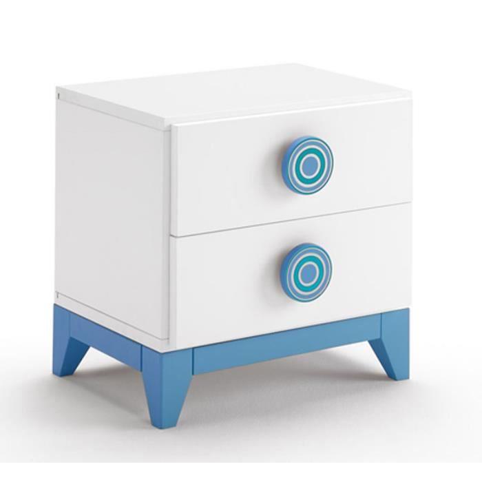 Table De Chevet En Bois Avec 2 Tiroirs Coloris Blanc Et Bleu Dim H 45 X L 45 X P 34 Cm