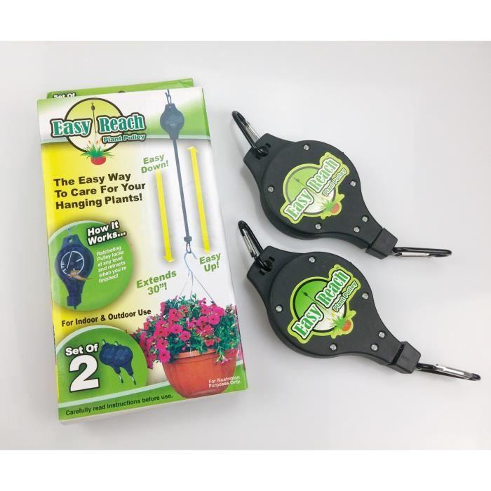 2ps suspension crochets et poulie pour pot de fleur et plantes easy reach noir yb030 sz - Suspension pot de fleur ...