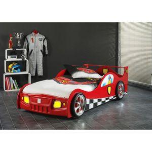 MONZA Lit enfant voiture contemporain laqué rouge - l 90 x L 200 cm