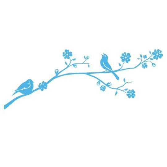 stickers branche et oiseaux bleu clair achat vente