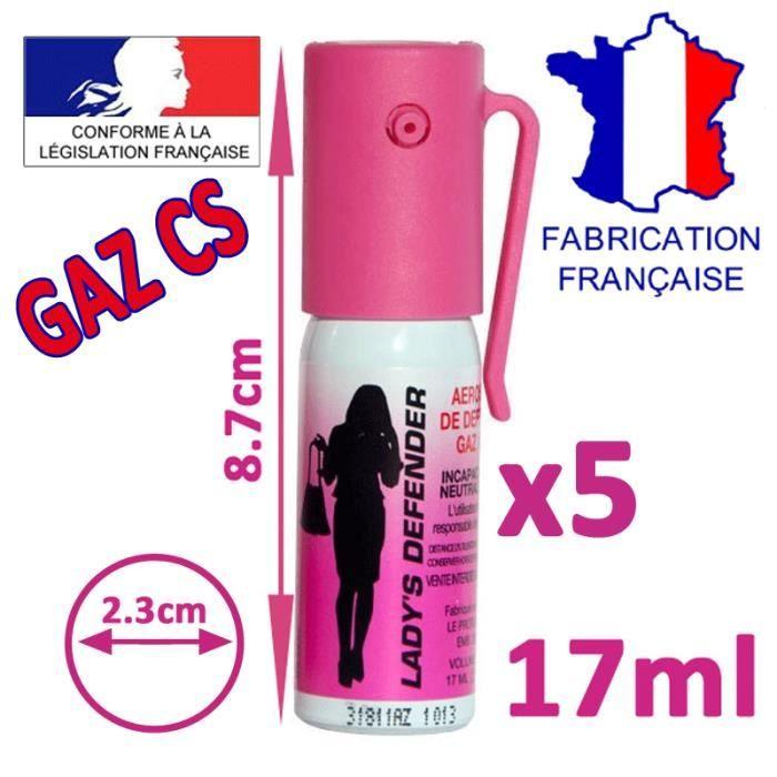 BOMBE LACRYMOGENE Lot 5x Aerosol Bombe Lacrymogène Rose Femme Gaz CS