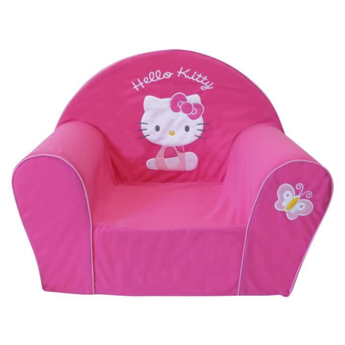 Fauteuil club mousse hello kitty rose achat vente for Housse fauteuil mousse bebe