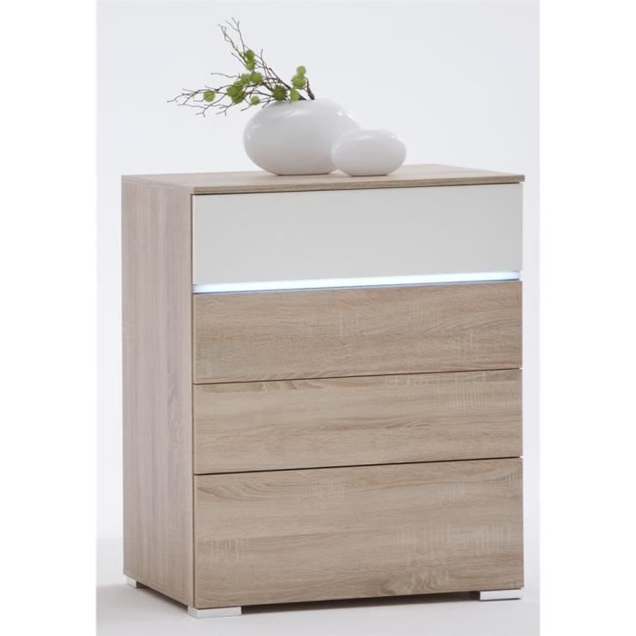 Commode 4 tiroirs clairage led light ch ne blanc achat for Meuble 70x40