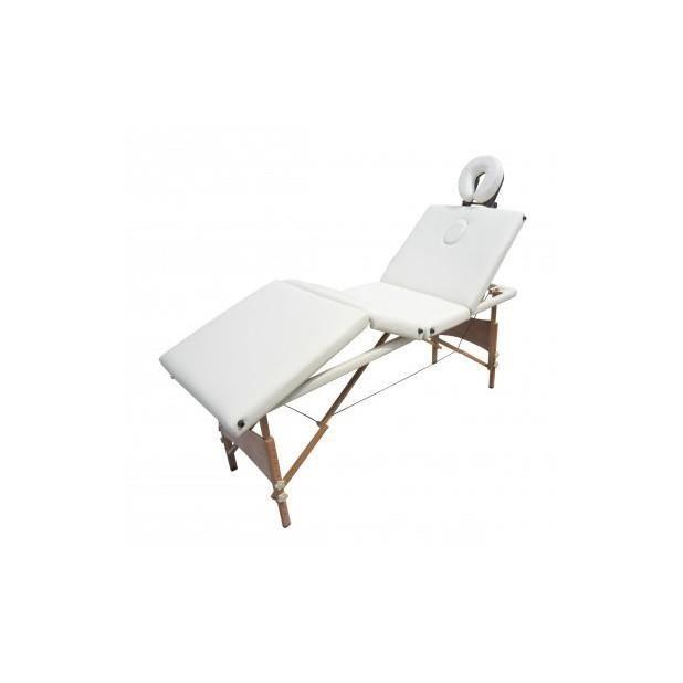 table de massage pliante bois 4 zones blanche achat. Black Bedroom Furniture Sets. Home Design Ideas