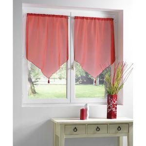 Rideaux vitrage rouge achat vente rideaux vitrage for Rideaux cuisine 70 x 90