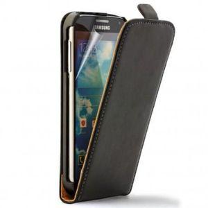 COQUE - BUMPER COQUE A CLAPET EN CUIR Samsung Galaxy S4  (Noir)