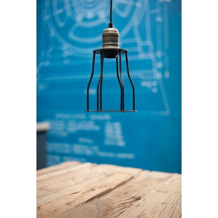 suspension vintage cage style industriel pour ampoule. Black Bedroom Furniture Sets. Home Design Ideas