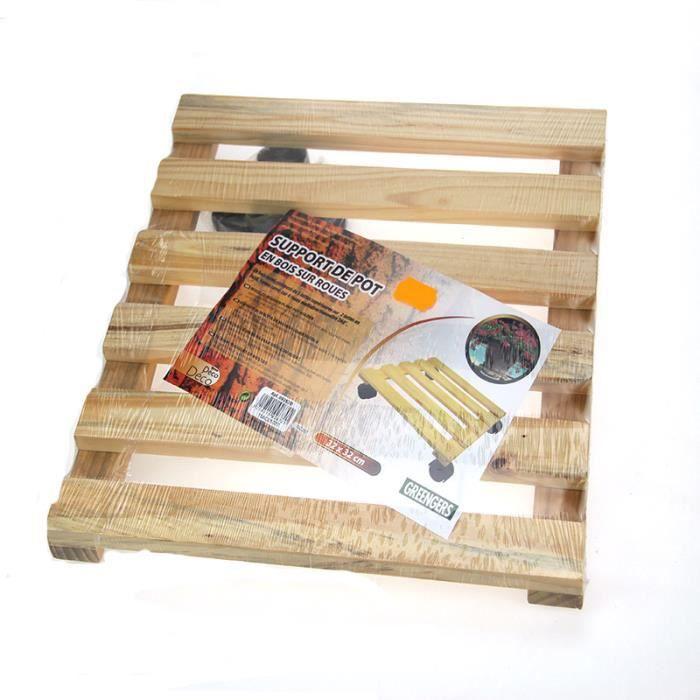Support de pot carr en bois vernis 32x32 cm s achat for Application de vernis sur bois