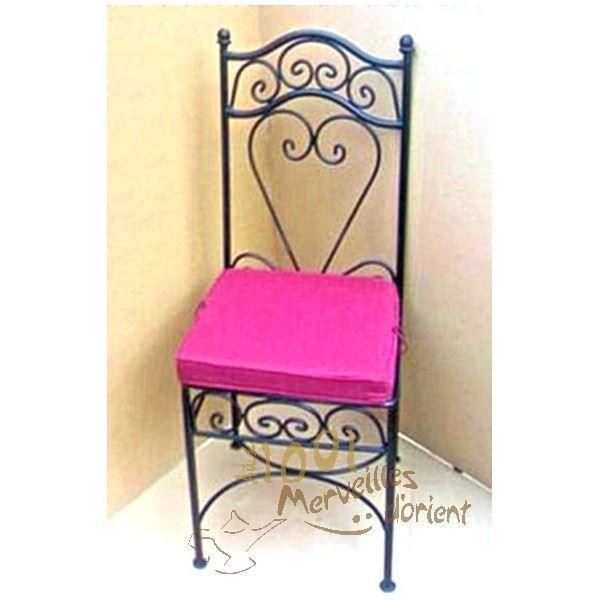 chaise marocaine en fer forg illyes avec assis achat vente chaise noir soldes d t. Black Bedroom Furniture Sets. Home Design Ideas