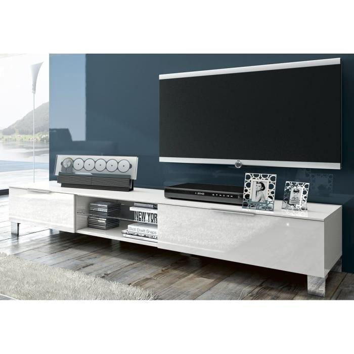 Meuble tv luza2 laqu blanc achat vente meuble tv meuble tv luza2 laqu b - Meuble tv blanc cdiscount ...