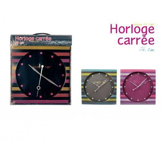 Horloge carree violet achat vente horloge cdiscount - Horloge murale carree ...