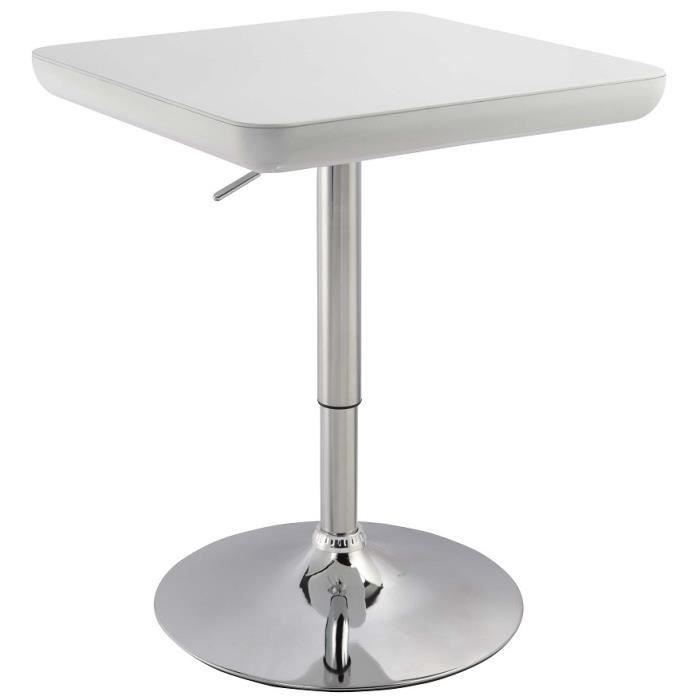 Table de bar carr 60 cm r glable blanc laqu achat vente meuble bar tabl - Table bar blanc laque ...
